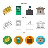 Gold bars, ATM, bank building, a case with money. Money and finance set collection icons in cartoon,outline,flat style. Vector symbol stock illustration Stock Image