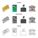 Gold bars, ATM, bank building, a case with money. Money and finance set collection icons in cartoon,outline,monochrome. Style vector symbol stock illustration Royalty Free Stock Image