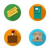 Gold bars, ATM, bank building, a case with money. Money and finance set collection icons in flat style vector symbol Stock Photos