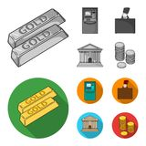 Gold bars, ATM, bank building, a case with money. Money and finance set collection icons in monochrome,flat style vector. Symbol stock illustration Stock Images