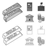 Gold bars, ATM, bank building, a case with money. Money and finance set collection icons in outline,monochrome style. Vector symbol stock illustration Royalty Free Stock Image