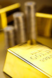 Gold bars background, ambient financial concept Stock Photos