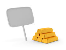 Gold bars with banner Royalty Free Stock Photos