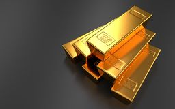 Gold bars on black backgrounds. Gold bars, ingot Royalty Free Stock Photography