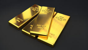 Gold bars on black backgrounds Royalty Free Stock Photos