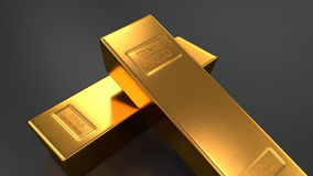 Gold bars on black backgrounds stock video