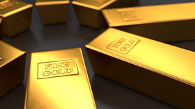 Gold bars on black backgrounds, loop stock footage