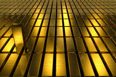 Gold bars block Three Dimension concept Background Stock Image