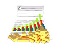 Gold bars and chart Royalty Free Stock Images