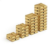 Gold bars. Chart from gold bars stacked on white background Royalty Free Stock Photography