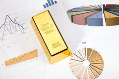 Gold bars on charts Royalty Free Stock Photography
