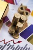 Gold bars on charts! Stock Photos