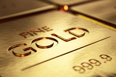 Gold Bars Close-up. With shallow DOF (3D artwork Royalty Free Stock Photography