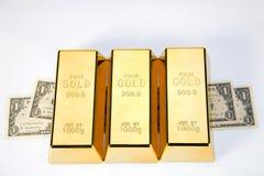 Gold bars closeup top view Royalty Free Stock Photos