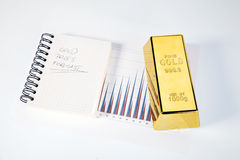 Gold bars closeup top view on diagram Stock Image