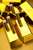 Gold bars and coins, ambient financial concept.  Stock Photos