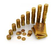 Bit currency 3d concepts. Gold bars and coins in bit currency style Royalty Free Stock Photography