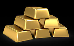 Gold bars and coins Royalty Free Stock Photo