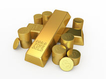Gold Bars and coins. 3d render Gold Bars and coins (isolated on white and clipping path Royalty Free Stock Image