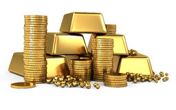 Gold bars and coins Royalty Free Stock Photos