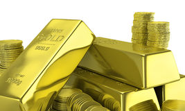 Gold bars with coins. Stock Photography