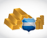Gold bars and coins shield illustration. Design over white Royalty Free Stock Images