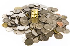Gold bars on coins stacks Royalty Free Stock Images
