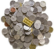 Gold bars on coins stacks Royalty Free Stock Photography