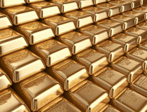 Gold bars. Concept of banking 3D Stock Photo