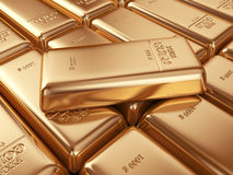 Gold bars. Concept of banking 3D Royalty Free Stock Photos