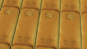 Close-up view of gold bars placed in perfect rows with ambient light. Gold bars concept of banking and ultimate wealth. Close-up view of gold bars placed in vector illustration