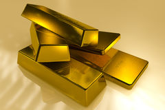 Gold bars 3d concept. Gold bars Three Dimension concept stock photo