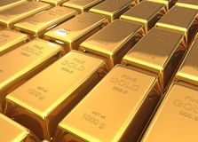 Gold bars 3d illustration Royalty Free Stock Images