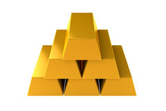 Gold bars 3d pyramid render on white background Royalty Free Stock Images