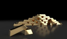 Gold Bars On Dark Background. 3D Rendering Of Gold Bars On Dark Background With Reflection Royalty Free Stock Photo