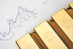 Gold bars on diagrams Stock Photos