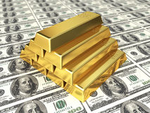 Gold bars on dollar. 3d render Gold bars on dollar (depth of field Royalty Free Stock Photography