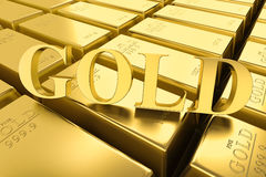 Gold bars 3Drendering. Gold bars pile isolated on white background. Financial success, business investment and wealth concept. 3D illustration Stock Photography