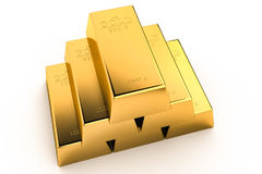 Gold bars 3Drendering. Gold bars pile isolated on white background. Financial success, business investment and wealth concept. 3D illustration Stock Photos