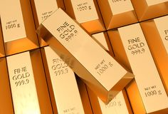 Gold bars - financial success and investment concept. Gold bars or ingot - financial success and investment concept Royalty Free Stock Images