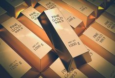 Gold bars - financial success and investment concept. Gold bars or ingot - financial success and investment concept - retro style Royalty Free Stock Photography