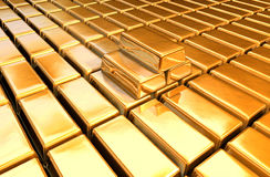 Gold bars floor stock photo