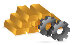 Gold bars and gears illustration design Stock Photo
