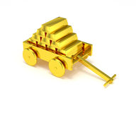 Gold bar in golden cart isolated Royalty Free Stock Photos