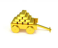 Gold bar in golden cart isolated Stock Images