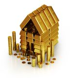 Gold bars and golden coins. 3d illustration Royalty Free Stock Photos