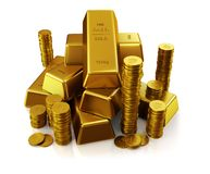 Gold bars and golden coins. Gold bars. Ultra hq 3d render Royalty Free Stock Image