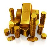 Gold bars and golden coins. Gold bars. Ultra hq 3d render Royalty Free Stock Photo