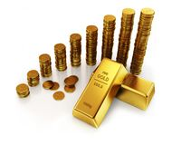 Gold bars and golden dollar currency coins Royalty Free Stock Photos