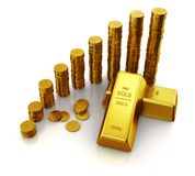 Gold bars and golden euro currency coins Stock Photos